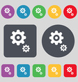 gears icon sign A set of 12 colored buttons Flat vector image vector image
