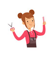 hairdresser character with scissors vector image