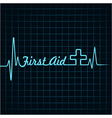 Heartbeat make first aid word and plus symbol vector image vector image