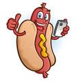 hot dog cartoon character using a smart phone vector image vector image