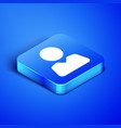 isometric add to friend icon isolated on blue
