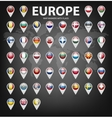 Map markers with flags - Europe Original colors vector image vector image