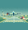 mayday landing plane on strip accident vector image vector image