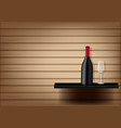 mock up realistic wine bottle and glass vector image vector image