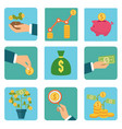 money and investment flat icon vector image vector image