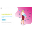 online business web poster woman working worldwide vector image vector image