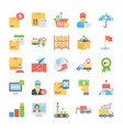 pack of logistic delivery flat icons vector image vector image