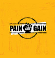 pain and gain workout and fitness gym design vector image vector image