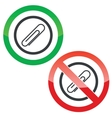 Paperclip permission signs vector image vector image
