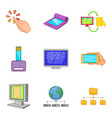 portable instrument icons set cartoon style vector image vector image