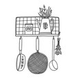 retro kitchen shelf with utensils outline vector image