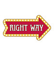 right way pointer isolated icon lamp framing vector image vector image