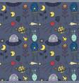 seamless pattern with cosmos doodle vector image