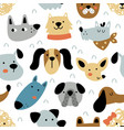 seamless pattern with cute dog heads vector image vector image