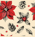 seamless pattern with holly leaves and poinsettia vector image vector image