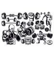 set black and white design elements for gym vector image vector image