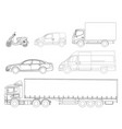 set cars outline logistics transport side view vector image vector image