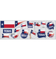 set flags american state texas vector image