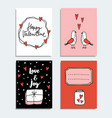 set of cute hand drawn valentines day or wedding vector image vector image