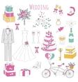 set of hand drawn wedding icons vector image vector image