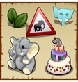Set on elephantine themes in various types vector image vector image