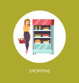 shopping food woman with basket and meal vector image