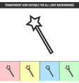 simple outline transparent magic wand icon on vector image