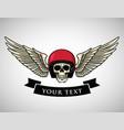skull helmet wings logo vintage motorcycle vector image vector image