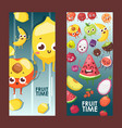 summer fruits on vertical banners vector image