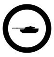 tank icon black color in circle vector image