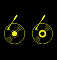 vinyl record in black and yellow logo icon - flat vector image vector image