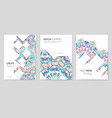 web banners with psychedelic floral pattern vector image vector image