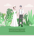 wedding summer day with bride and bridegroom vector image vector image