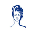 women short hair style icon vector image vector image