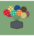 Card with flying balloons in retro style vector image
