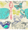 Tea time with flowers and bird seamless pattern vector image