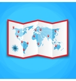 Paper world map with location icons map icon vector image